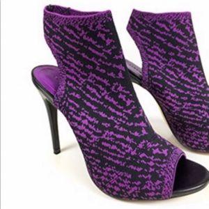 Purple Open toe pull on heels